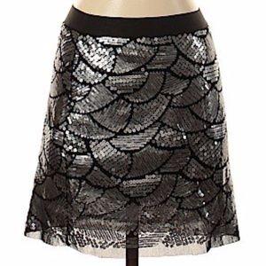 Chelsea & Violet silver black sequin mini skirt